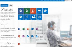 Office 365 na skúšku - úvodná stránka služby používateľa