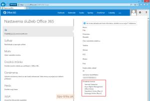 Priradenie licencií v Office 365 - priradené licencie