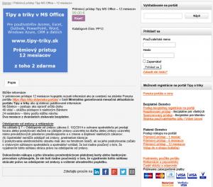 Postup nákupu na portáli tipy a triky v MS Office