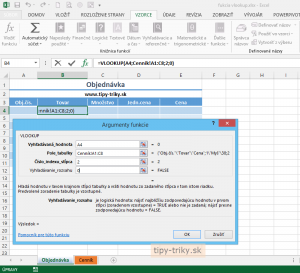 Funkcia VLOOKUP Vám vyhľadá údaje v Exceli