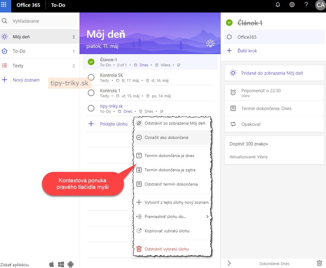 Pozrite si službu To-Do v Office 365