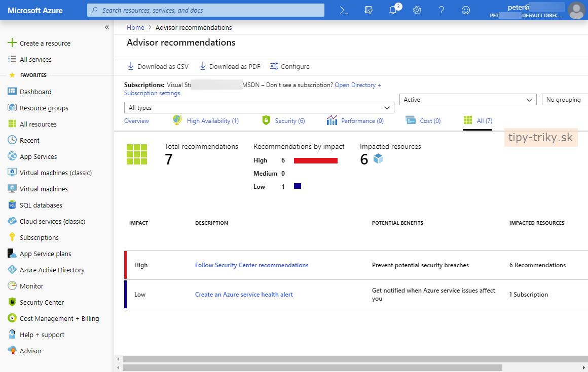 Na čo sa používa Azure Advisor?