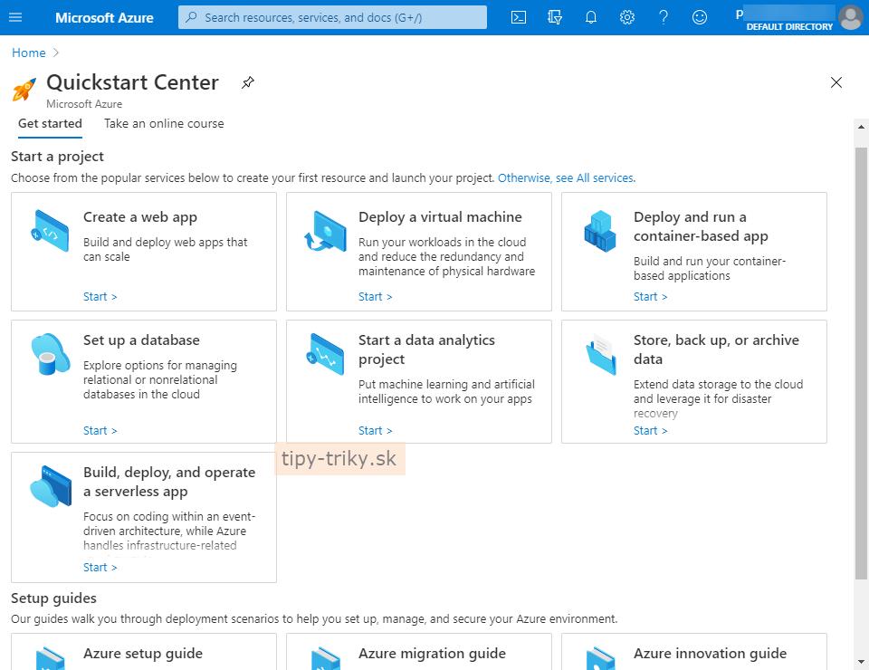 Začínate s cloudom? Skúste Azure Quickstart Center